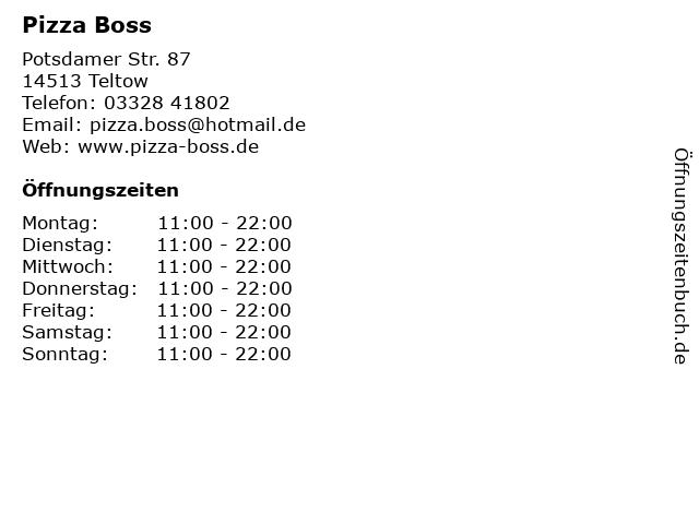 Pizza Boss in Teltow: Adresse und Öffnungszeiten