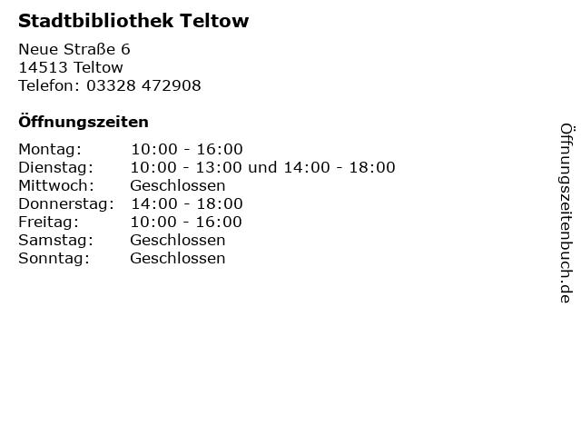 Stadtbibliothek Teltow in Teltow: Adresse und Öffnungszeiten