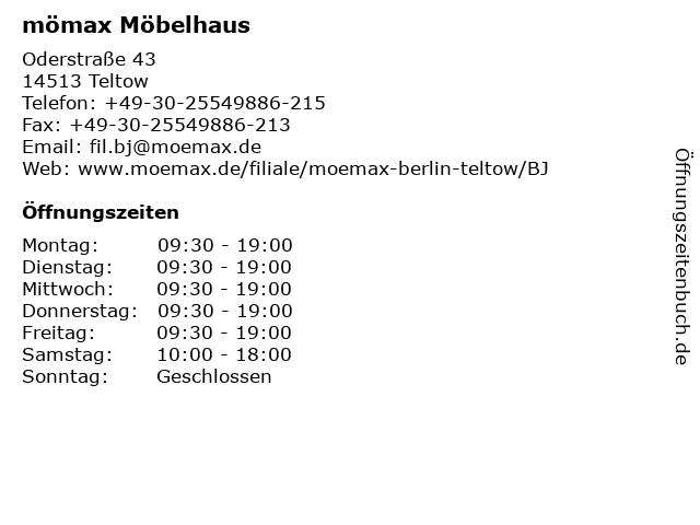 ᐅ öffnungszeiten Mömax Möbelhaus Berlin Teltow Oderstraße 43 In