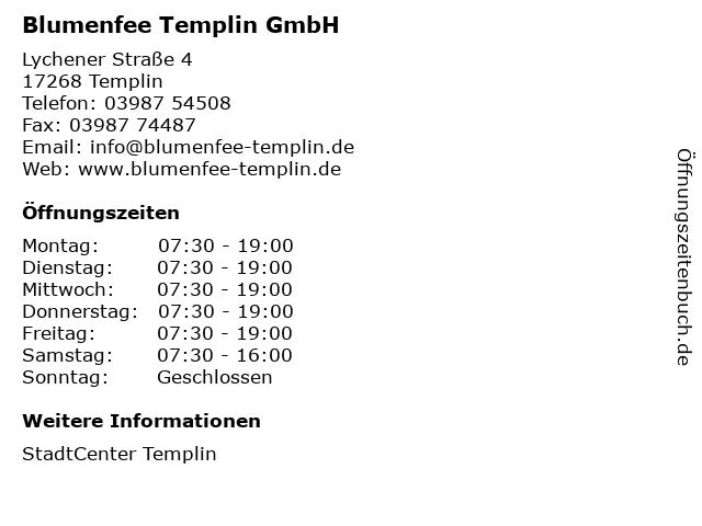 Blumenfee Templin GmbH in Templin: Adresse und Öffnungszeiten