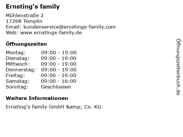 Ernsting's family in Templin: Adresse und Öffnungszeiten