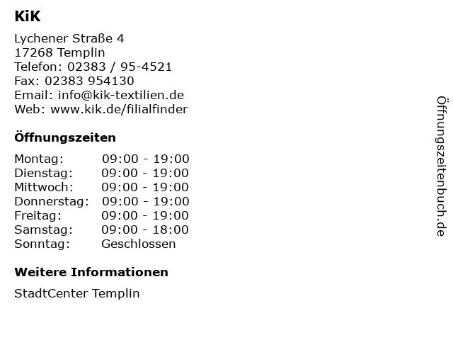 KiK Textilien und Non-Food GmbH in Templin: Adresse und Öffnungszeiten