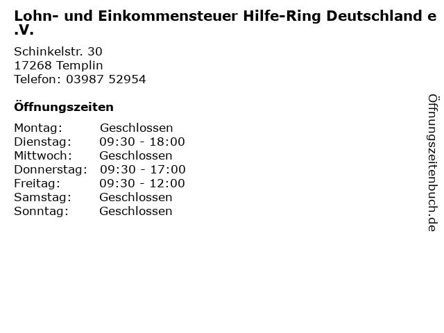 Lohn- und Einkommensteuer Hilfe-Ring Deutschland e.V. in Templin: Adresse und Öffnungszeiten