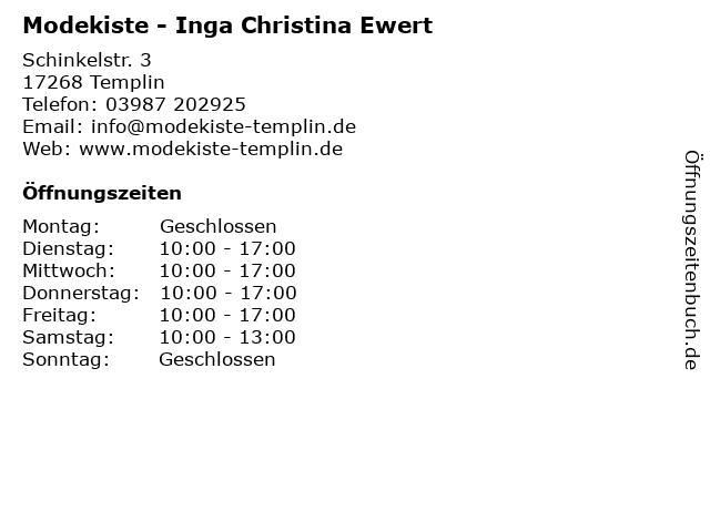 Modekiste - Inga Christina Ewert in Templin: Adresse und Öffnungszeiten