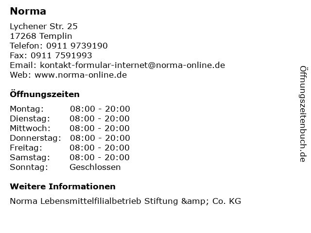 Norma Lebensmittelfilialbetrieb Stiftung & Co. KG in Templin: Adresse und Öffnungszeiten