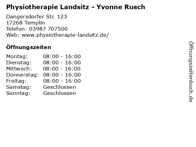 Physiotherapie Landsitz - Yvonne Rusch in Templin: Adresse und Öffnungszeiten