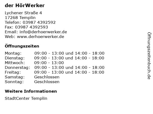 der HörWerker in Templin: Adresse und Öffnungszeiten