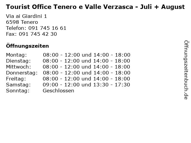 Tourist Office Tenero e Valle Verzasca - Juli + August in Tenero: Adresse und Öffnungszeiten