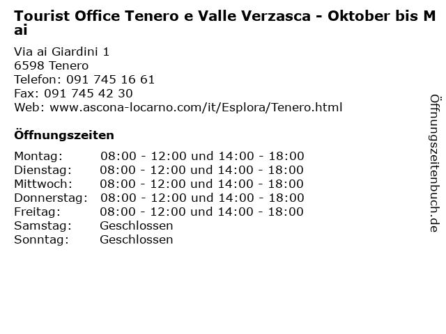 Tourist Office Tenero e Valle Verzasca - Oktober bis Mai in Tenero: Adresse und Öffnungszeiten