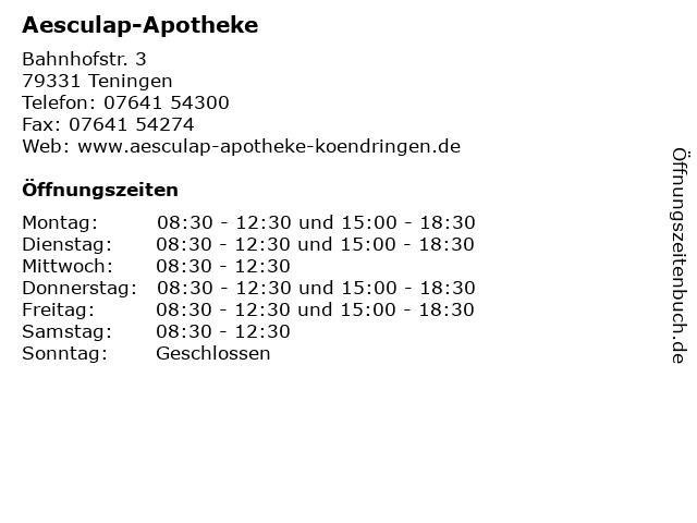 Aesculap-Apotheke in Teningen: Adresse und Öffnungszeiten