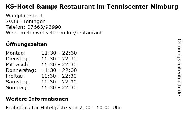 KS-Hotel & Restaurant im Tenniscenter Nimburg in Teningen: Adresse und Öffnungszeiten