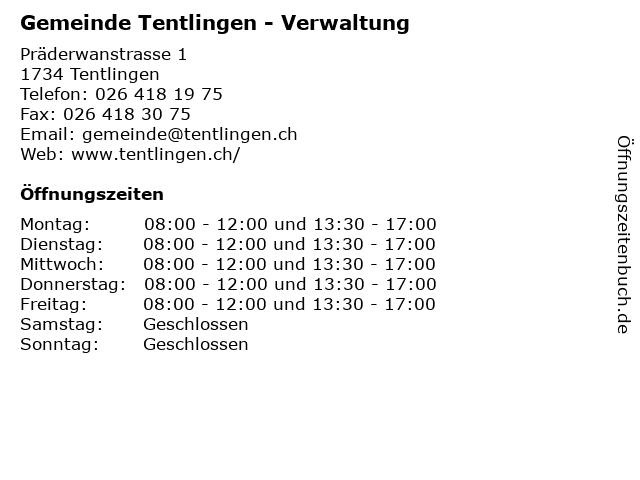 Gemeinde Tentlingen - Verwaltung in Tentlingen: Adresse und Öffnungszeiten