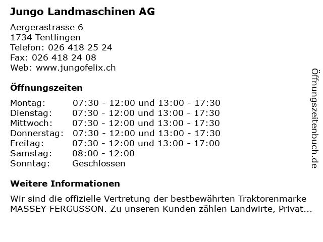 Jungo Landmaschinen AG in Tentlingen: Adresse und Öffnungszeiten