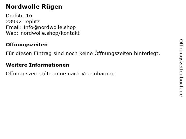 Nordwolle Rügen in Teplitz: Adresse und Öffnungszeiten