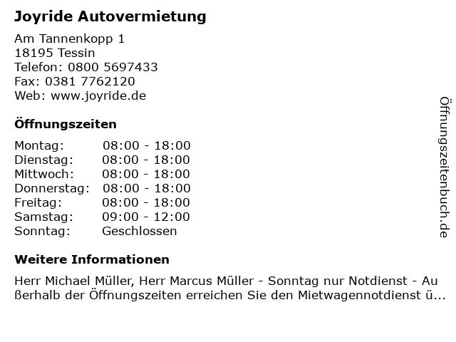 Joyride Autovermietung in Tessin: Adresse und Öffnungszeiten