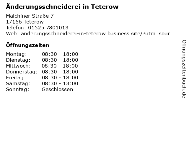 Änderungsschneiderei in Teterow in Teterow: Adresse und Öffnungszeiten