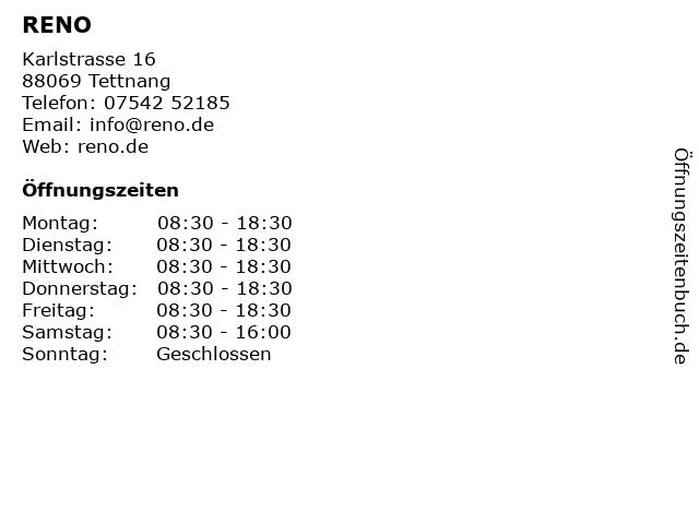 RENO in Tettnang: Adresse und Öffnungszeiten