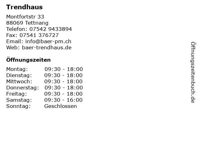 Trendhaus in Tettnang: Adresse und Öffnungszeiten