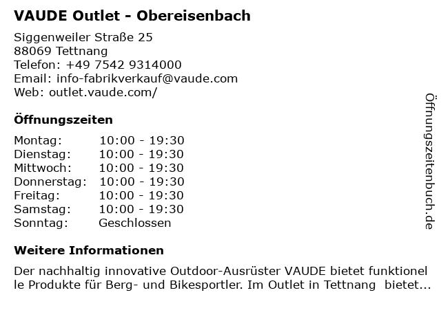 VAUDE Outlet - Obereisenbach in Tettnang: Adresse und Öffnungszeiten