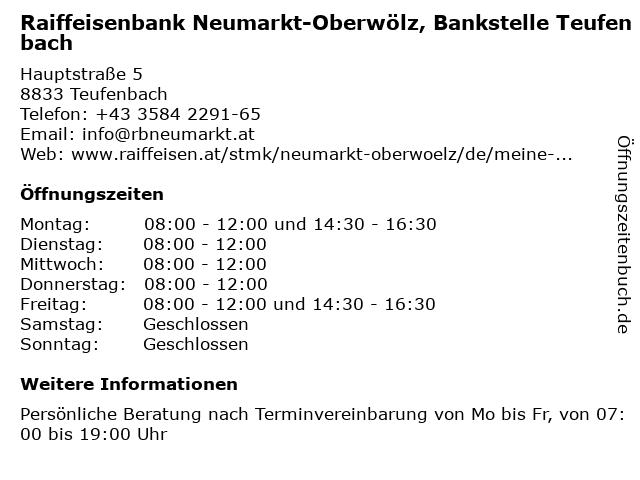Raiffeisenbank Neumarkt-Oberwölz, Bankstelle Teufenbach in Teufenbach: Adresse und Öffnungszeiten