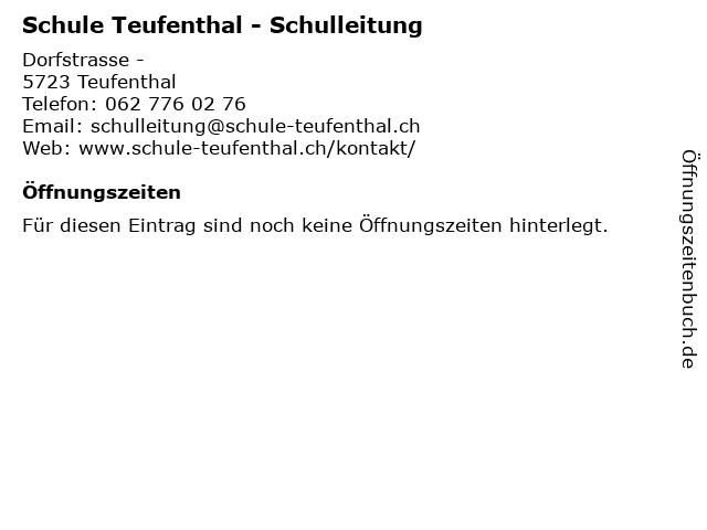 Schule Teufenthal - Schulleitung in Teufenthal: Adresse und Öffnungszeiten