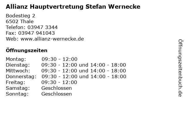 Allianz Hauptvertretung Stefan Wernecke in Thale: Adresse und Öffnungszeiten