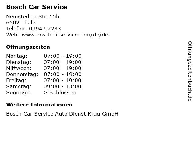 Bosch Car Service in Thale: Adresse und Öffnungszeiten