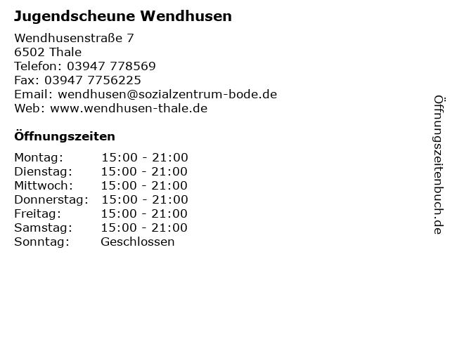 Jugendscheune Wendhusen in Thale: Adresse und Öffnungszeiten