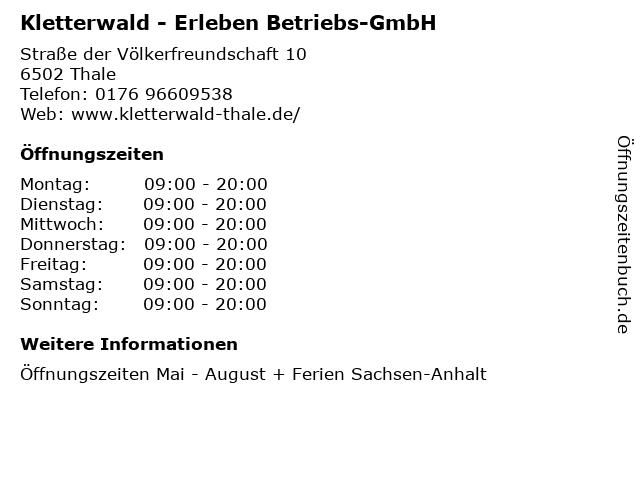 Kletterwald - Erleben Betriebs-GmbH in Thale: Adresse und Öffnungszeiten
