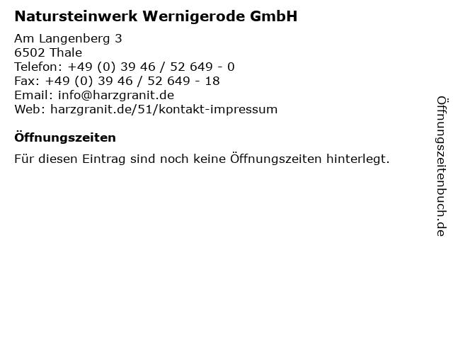 Natursteinwerk Wernigerode GmbH in Thale: Adresse und Öffnungszeiten