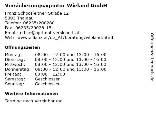Allianz Agentur Wieland Werner in Thalgau: Adresse und Öffnungszeiten