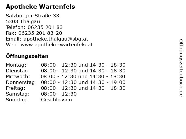 Apotheke Wartenfels in Thalgau: Adresse und Öffnungszeiten
