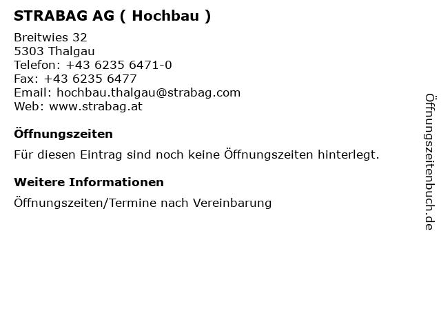 STRABAG AG ( Hochbau ) in Thalgau: Adresse und Öffnungszeiten