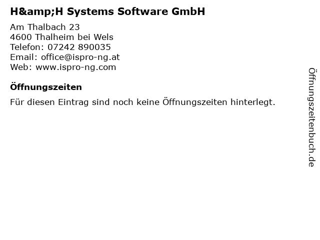 H&H Systems Software-Entwicklungs- und Vertriebs GmbH in Thalheim: Adresse und Öffnungszeiten