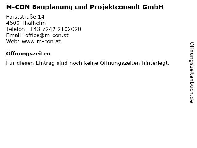 M-CON Bauplanung und Projektconsult GmbH in Thalheim: Adresse und Öffnungszeiten