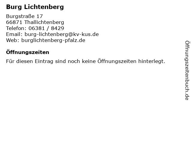 Burg Lichtenberg in Thallichtenberg: Adresse und Öffnungszeiten
