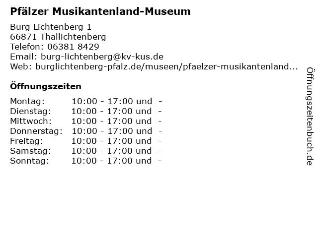 Pfälzer Musikantenland-Museum in Thallichtenberg: Adresse und Öffnungszeiten