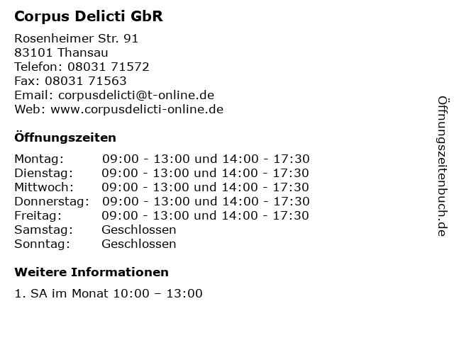 Corpus Delicti GbR in Thansau: Adresse und Öffnungszeiten