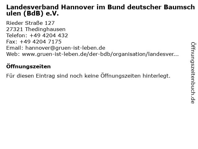 Landesverband Hannover im Bund deutscher Baumschulen (BdB) e.V. in Thedinghausen: Adresse und Öffnungszeiten
