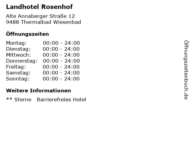 Landhotel Rosenhof in Thermalbad Wiesenbad: Adresse und Öffnungszeiten