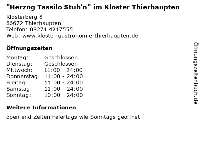 """""""Herzog Tassilo Stub'n"""" im Kloster Thierhaupten in Thierhaupten: Adresse und Öffnungszeiten"""