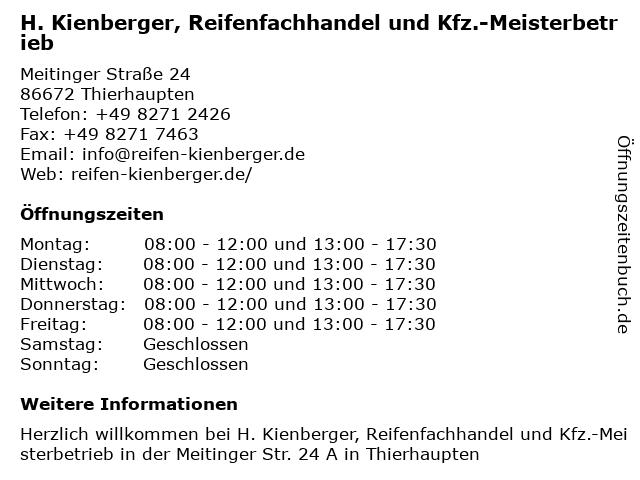 H. Kienberger, Reifenfachhandel und Kfz.-Meisterbetrieb in Thierhaupten: Adresse und Öffnungszeiten