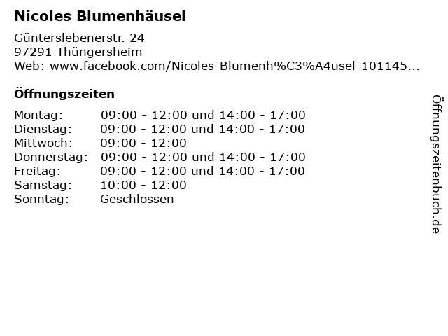 Nicoles Blumenhäusel in Thüngersheim: Adresse und Öffnungszeiten