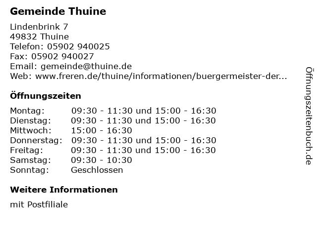 Gemeinde Thuine in Thuine: Adresse und Öffnungszeiten