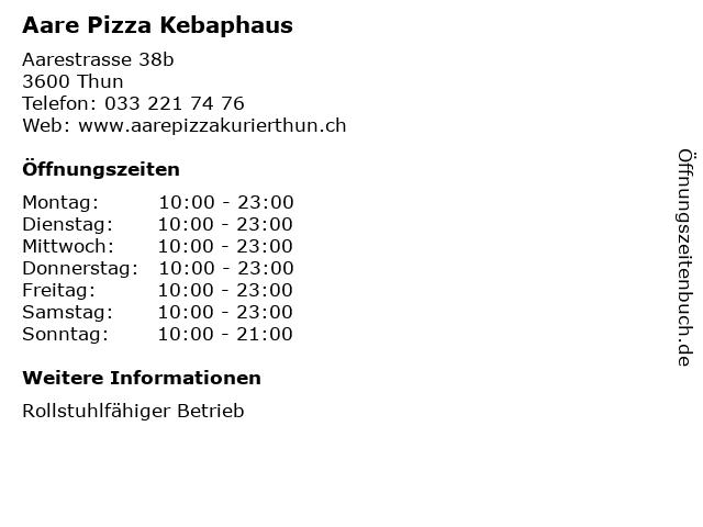 Aare Pizza Kebaphaus in Thun: Adresse und Öffnungszeiten