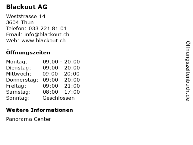 Blackout AG in Thun: Adresse und Öffnungszeiten