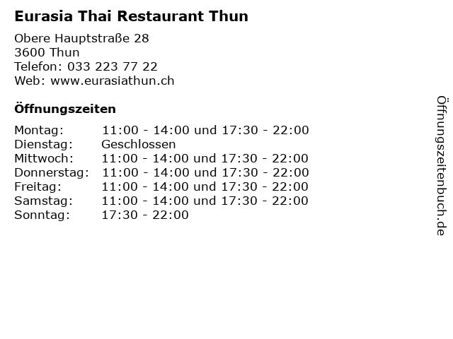 Eurasia Thai Restaurant Thun in Thun: Adresse und Öffnungszeiten