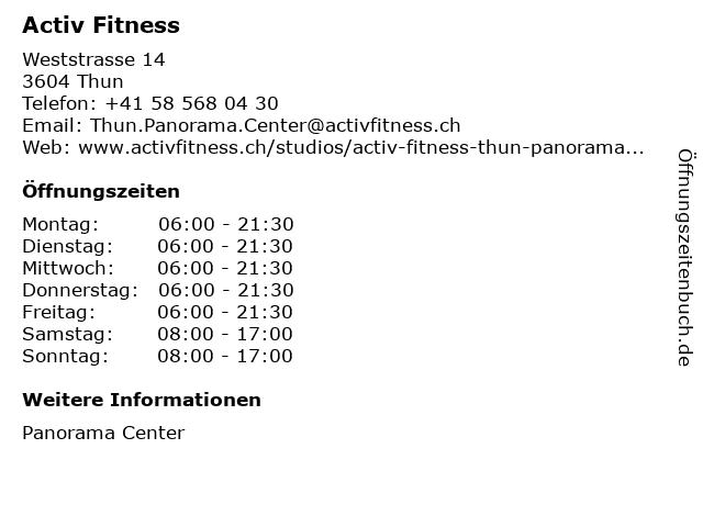 FlowerPower Fitness & Wellness AG in Thun: Adresse und Öffnungszeiten
