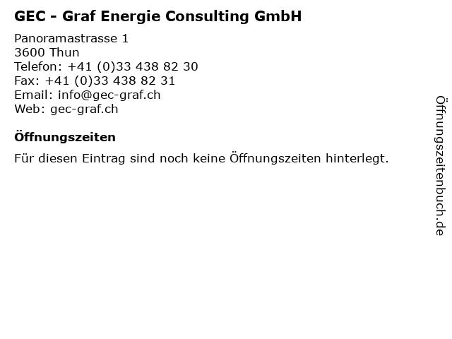 GEC - Graf Energie Consulting GmbH in Thun: Adresse und Öffnungszeiten