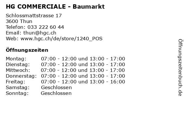 HG COMMERCIALE in Thun: Adresse und Öffnungszeiten